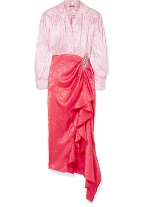 Dodo Bar Or - Crystal-embellished Ruched Satin-jacquard Dress - Baby pink