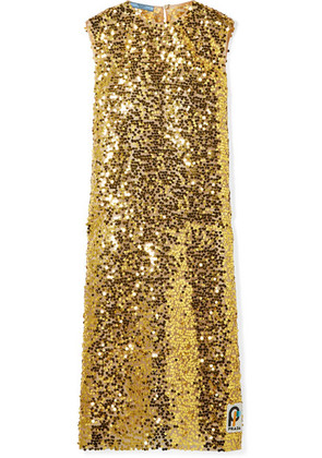 Prada - Sequined Organza Midi Dress - Gold