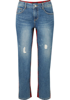 SJYP - Cropped Tartan Wool-paneled Distressed High-rise Straight-leg Jeans - Red