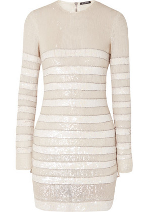 Balmain - Striped Sequined Crepe Mini Dress - White