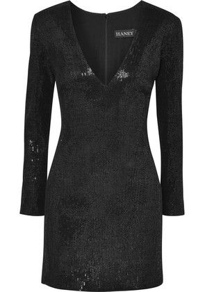 Haney - Hailey Sequined Crepe Mini Dress - Black