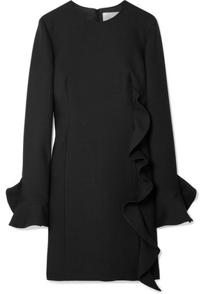 Valentino - Ruffled Wool And Silk-blend Mini Dress - Black