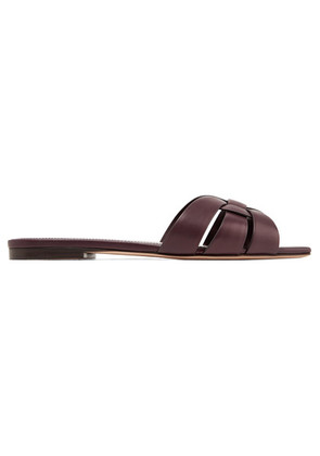 Saint Laurent - Nu Pieds Woven Leather Slides - Plum