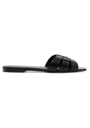 Saint Laurent - Nu Pieds Woven Leather Slides - Black