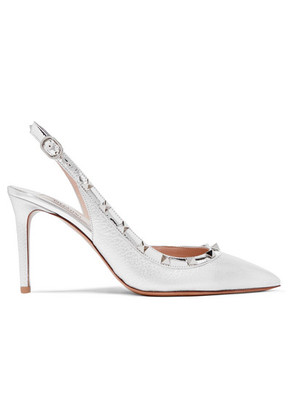 Valentino - The Rockstud Metallic Textured-leather Slingback Pumps - Silver
