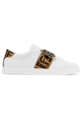 Fendi - Logo-embossed Leather Sneakers - White