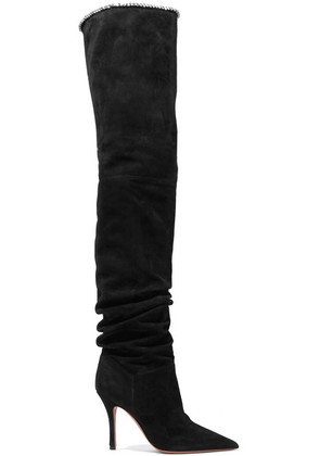 Amina Muaddi - Barbara Crystal-trimmed Suede Over-the-knee Boots - Black