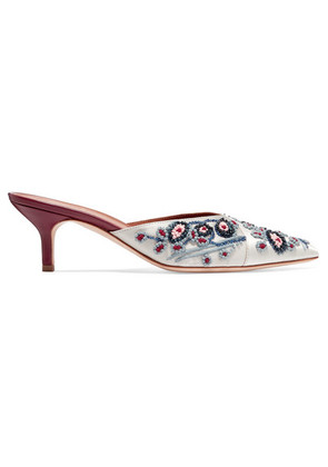 Malone Souliers - Portia 45 Embellished Satin And Leather Mules - Gray