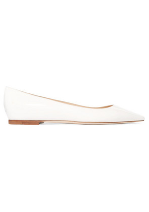 Jimmy Choo - Romy Patent-leather Point-toe Flats - Off-white