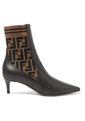 Fendi - Rockoko Logo-jacquard Stretch-knit And Leather Ankle Boots - Black