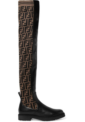 Fendi - Logo-jacquard Stretch-knit And Leather Over-the-knee Boots - Black