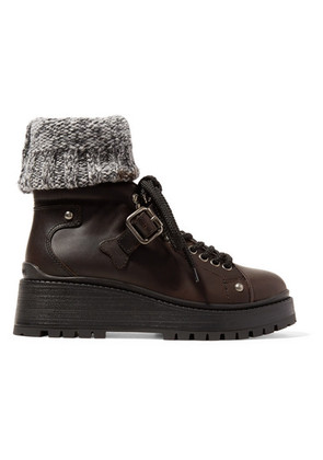 Miu Miu - Ribbed Knit-trimmed Leather Ankle Boots - Dark brown