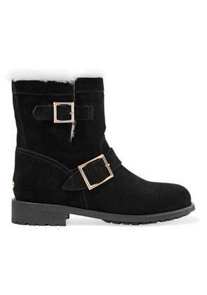 Jimmy Choo - Youth Shearling-lined Suede Ankle Boots - Black
