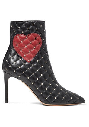 Valentino - Valentino Garavani Studded Quilted Leather Ankle Boots - Black