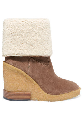 Tod's - Zeppa Para Shearling-trimmed Suede Wedge Ankle Boots - Light brown