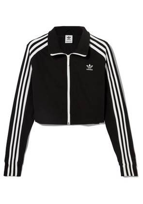 adidas Originals - Cropped Striped Stretch-jersey Track Jacket - Black