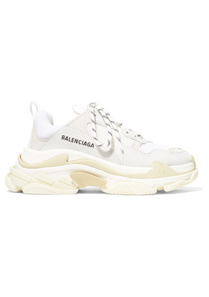 Balenciaga - Triple S Logo-embroidered Leather, Nubuck And Mesh Sneakers - White