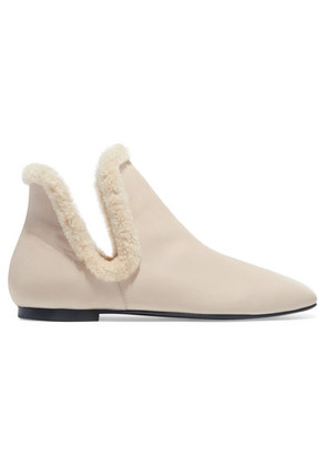 The Row - Eros Shearling-trimmed Leather Ankle Boots - Sand