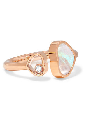Chopard - Happy Hearts 18-karat Rose Gold, Diamond And Mother-of-pearl Ring - 54