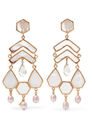 Loulou de la Falaise - Gold-plated Multi-stone Clip Earrings - White