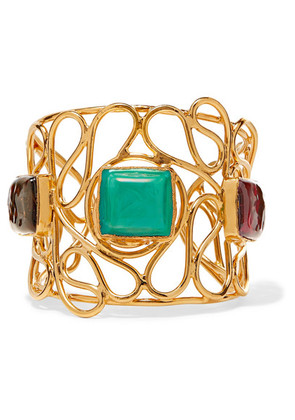Loulou de la Falaise - Mosaic Gold-plated Glass Cuff - Turquoise