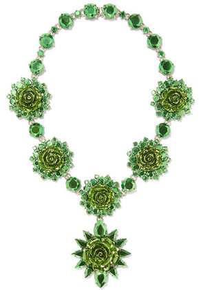 Prada - Silver-plated Crystal Necklace - Green