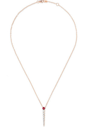 Melissa Kaye - Aria 18-karat Rose Gold, Diamond And Ruby Necklace - one size