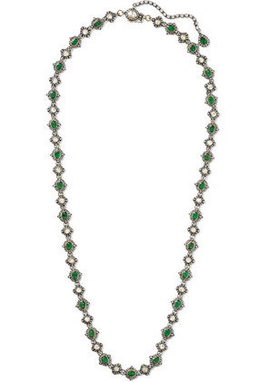 Amrapali - 18-karat Gold, Sterling Silver, Diamond And Emerald Necklace - one size