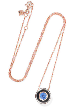 Selim Mouzannar - Mina 18-karat Rose Gold, Enamel, Diamond And Sapphire Necklace - one size