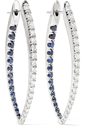 Melissa Kaye - Cristina 18-karat White Gold, Diamond And Sapphire Earrings - one size