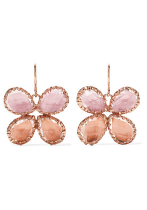 Larkspur & Hawk - Sadie Butterfly Rose Gold-dipped Quartz Earrings - one size