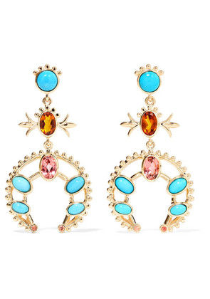 Marlo Laz - Squash Blossom 14-karat Gold Multi-stone Earrings - one size