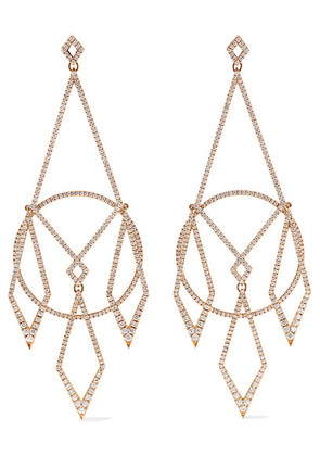 Diane Kordas - 18-karat Rose Gold Diamond Earrings - one size
