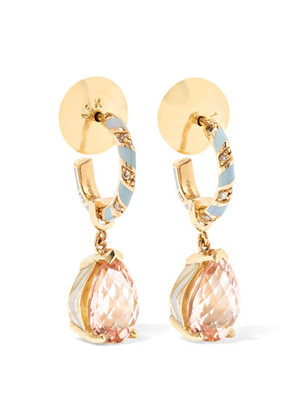 Alice Cicolini - Candy Pave 14-karat Gold, Enamel And Multi-stone Hoop Earrings - one size
