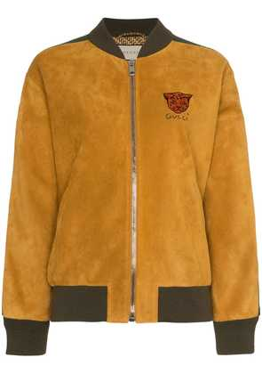 Gucci Logo stripe suede bomber jacket - Yellow