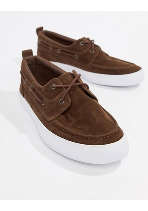 ASOS DESIGN boat shoes in brown faux suede - Brown