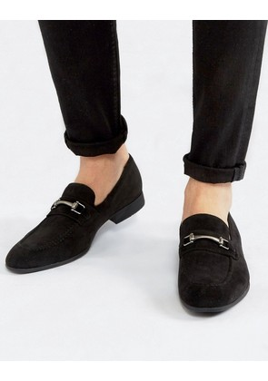 ASOS DESIGN loafers in black faux suede with snaffle detail - Black