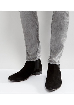 ASOS Wide Fit Chelsea Boots in Black Suede - Black