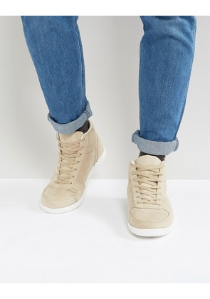 ASOS High Top Trainers In Stone Faux Suede - Stone