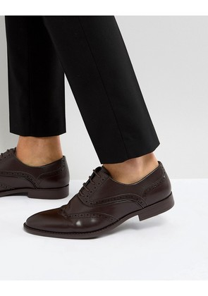 ASOS Brogue Shoes In Brown Faux Leather With Layered Paneling - Brown