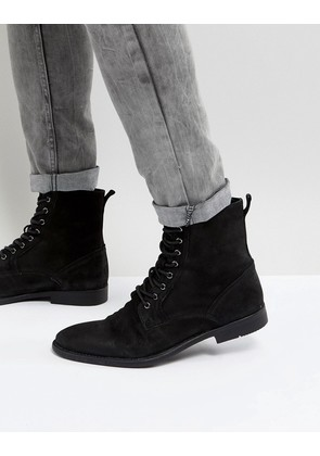ASOS Lace Up Boots In Black Leather With Distressed Sole - Black