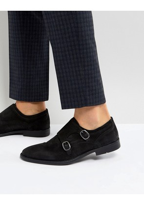 ASOS Monk Shoes In Black Suede With Distressed Sole - Black