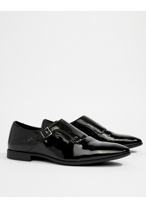 ASOS DESIGN Monk Shoes In Black Patent Faux Leather With Emboss Detail - Black