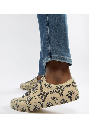 ASOS DESIGN Wide Fit trainers in all over print - Stone