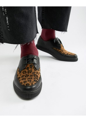 ASOS DESIGN lace up shoes in black faux leather with leopard panel and creeper sole - Black