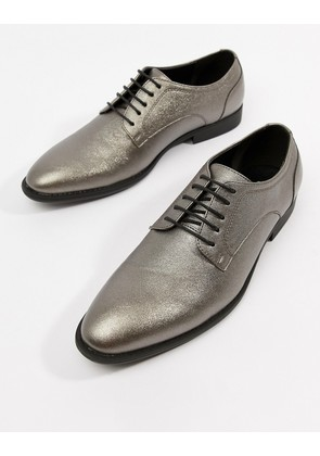 ASOS DESIGN lace up dress shoes in silver faux leather - Silver