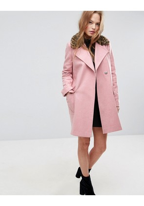 ASOS Coat with Leopard Print Collar - Pink
