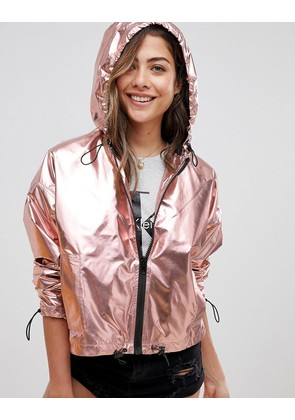 ASOS Cropped Metallic Wind Breaker - Pink