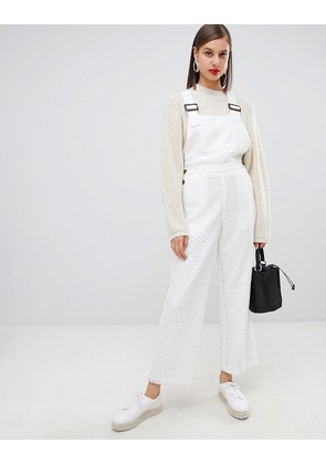 ASOS DESIGN LACE dungaree with buckle detail - White