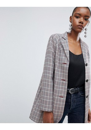 ASOS DESIGN Check Formal Coat With Western Stitching - Multi